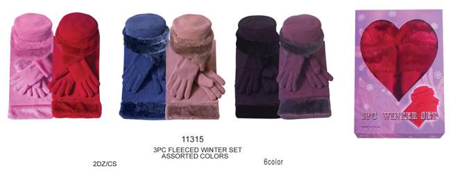 1d7760915fa2f Wholesale Womens Faux Fur Fleece Winter Hat Scarf Gloves Sets - 2 Doz