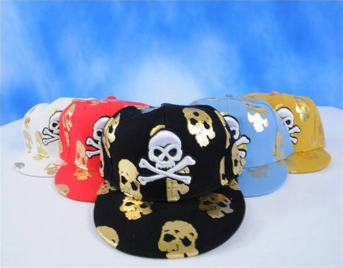 Wholesale Skull with Cross Bone FITTED CAPs - 1 Doz