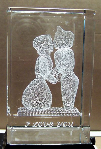VALENTINEs Day 3 Inch 3D Laser Etched Crystal Paper Weight