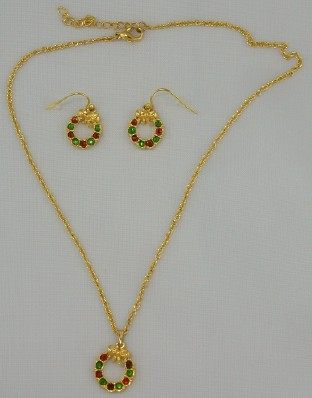 Overstock Closeout Multicolored Crystal Wreath Necklace & Earrings