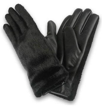 Wholesale Womenâ??s Faux Fur Long Wrist LEATHER Gloves | 1 Dz