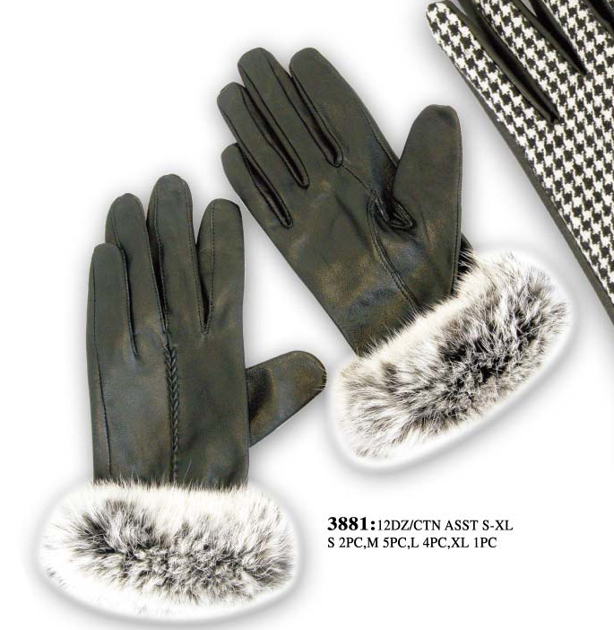 Wholesale Faux Fur LEATHER Gloves - 12 Doz