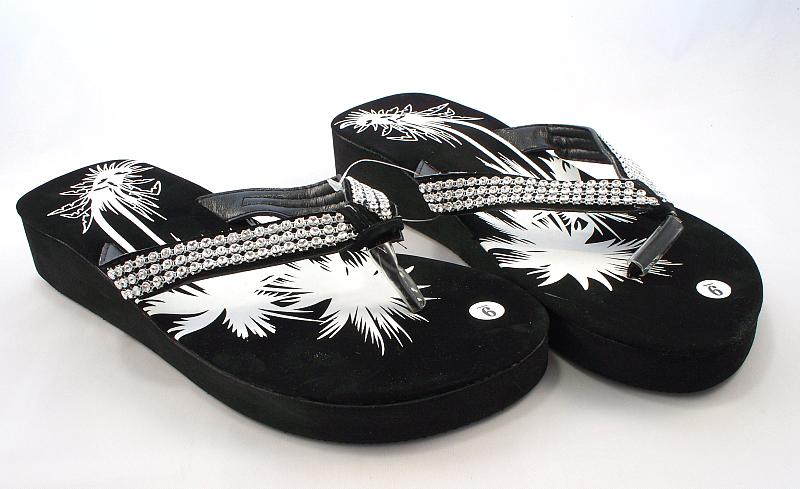 Wholesale Wedge Flip Flops with Rhinestones - Wedge SANDALS - 60 Pairs