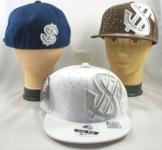 Wholesale Dollar SIGN Fitted Hats with Glitter & Rhinestones - 12 Doz