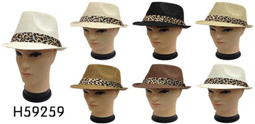 Wholesale Fedora Hats with ANIMAL Print BAND - 10 Doz