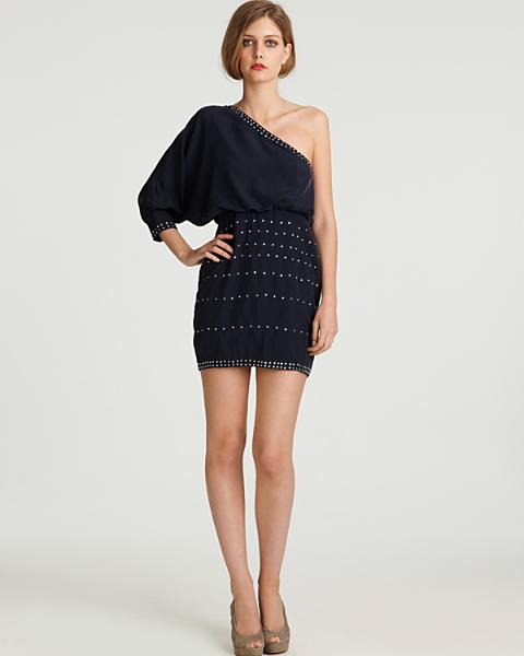 One Shoulder Long Sleeve Embellished DRESS