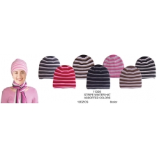 Wholesale Beanie Stripe Hat - Stripe Winter Ski Hat - 12 Dozen