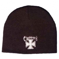 Maltese Cross Choppers Embroidered Black Beanie -