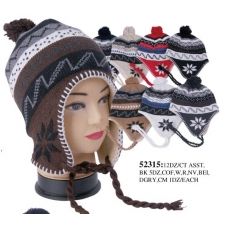 Wholesale Earflap Hat with Pompoms - 1 Doz