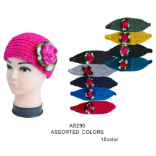 Wholesale Crochet Knit Ear Warmers with Rose - 1 Doz