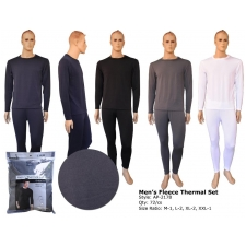 Wholesale Thermals - Men's Fleece Thermal Sets - 12 Sets