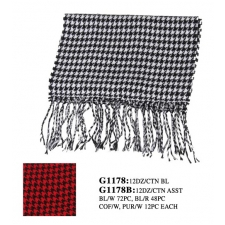 Wholesale Checker Scarf with Long Fringe - 1 DZ