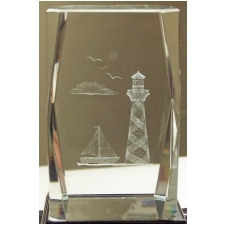 Wholesale 3D Laser Etched Crystal Light-House - 24 Pieces