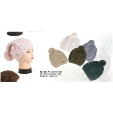 Wholesale Closeout Pompoms Beanie Hats - 1 DZ