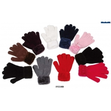 Wholesale Chenille Gloves with Fuzzy Wrist - 12 Doz