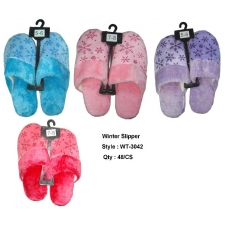 Wholesale Winter Slippers with Snowflakes - 48 Pairs