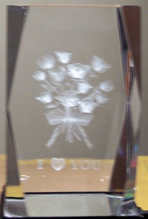 3D Laser Etched Crystal FLOWERS - 1 Piece