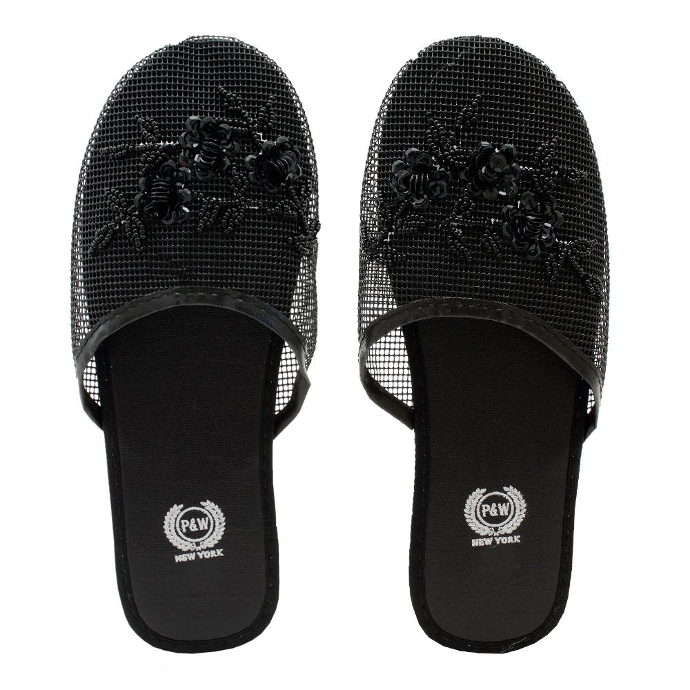 Wholesale Black Chinese Mesh Slippers