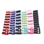 Wholesale Stripe Leg Warmers with Buttons - 12 Pairs