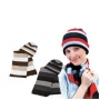 Wholesale Stripe Knit Hat and Scarf Set - 1 Doz