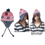 Wholesale USA Flag Earflap Hats - USA Winter Hats - 1 Doz